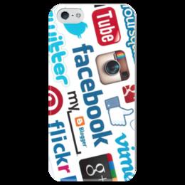 """Чехол для iPhone 5 глянцевый, с полной запечаткой """"Соц. сети"""" - twitter, like, you tube"""