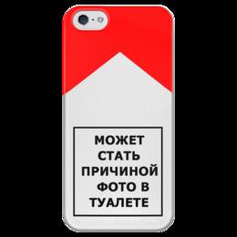 """Чехол для iPhone 5 глянцевый, с полной запечаткой """"МОЖЕТ СТАТЬ ПРИЧИНОЙ ФОТО В ТУАЛЕТЕ"""" - сигареты, может стать причиной фото в туалете, пачка"""