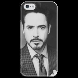 "Чехол для iPhone 5 глянцевый, с полной запечаткой ""тони старк "" - tony stark, роберт дауни, ironman, robert downey jr"