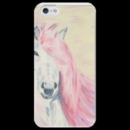 "Чехол для iPhone 5 глянцевый, с полной запечаткой ""Розовая мечта"" - лошадь, pink, horse, dream"