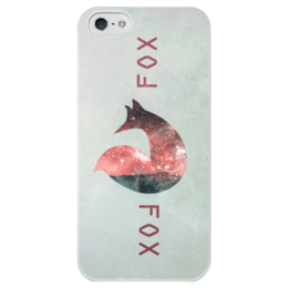 """Чехол для iPhone 5 глянцевый, с полной запечаткой """"Лиса и Космос"""" - fox, лиса, космос, арт, фотошоп"""