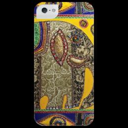 """Чехол для iPhone 5 глянцевый, с полной запечаткой """"Индийский слоник"""" - узор, apple, iphone, слон, желтый, зеленый, яркий, слоник, индия, чехол"""