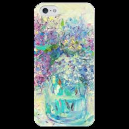 """Чехол для iPhone 5 глянцевый, с полной запечаткой """"Кудряшки сирени"""" - цветы, букет, сирень, валерия меценатова, funny smile"""