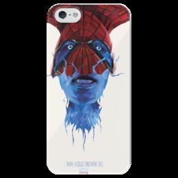 """Чехол для iPhone 5 глянцевый, с полной запечаткой """"The amazing SPIDER-MAN"""" - арт, в подарок, marvel, человек паук, spider-man, comics"""