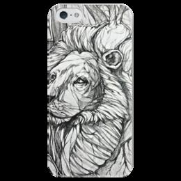 "Чехол для iPhone 5 глянцевый, с полной запечаткой ""Львиное сердце"" - сердце, арт, лев, lion, heart, drawing, царь, king, animal, храбрый"