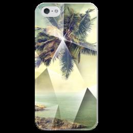 """Чехол для iPhone 5 глянцевый, с полной запечаткой """"Пальмы"""" - арт, лето, summer, пальма, swag"""
