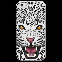 """Чехол для iPhone 5 глянцевый, с полной запечаткой """"Леопард"""" - животные, рисунок, коты, леопард, хищники"""