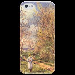 """Чехол для iPhone 5 глянцевый, с полной запечаткой """"Лужайки весной"""" - картина, сислей"""