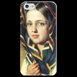 """Чехол для iPhone 5 глянцевый, с полной запечаткой """"Девушка в платке"""" - картина, венецианов"""
