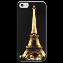 """Чехол для iPhone 5 глянцевый, с полной запечаткой """"Париж"""" - париж, paris, эйфелева башня"""