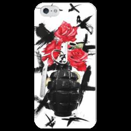 "Чехол для iPhone 5 глянцевый, с полной запечаткой ""треш полька"" - граната, тату, розы, треш полька, trash polka"