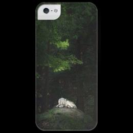 """Чехол для iPhone 5 глянцевый, с полной запечаткой """"Одинокий волк"""" - арт, lone wolf"""
