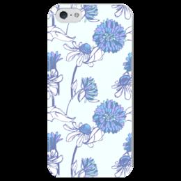 """Чехол для iPhone 5 глянцевый, с полной запечаткой """"Голубой букет"""" - цветы, паттерн, голубой букет"""
