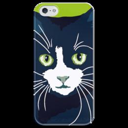 """Чехол для iPhone 5 глянцевый, с полной запечаткой """"Чёрный кот"""" - рисунок, чёрный кот"""