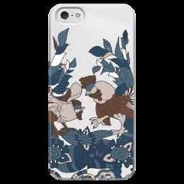 """Чехол для iPhone 5 глянцевый, с полной запечаткой """"петушиное разноцветие"""" - узор, символ года, абстрактный, петух, петухи"""