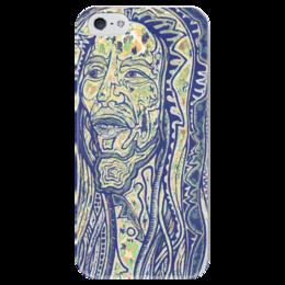 """Чехол для iPhone 5 глянцевый, с полной запечаткой """"Bob Marley"""" - любовь, арт, рисунок, боб марли, культ, bob marley, reggae, рэгги"""