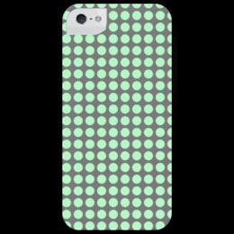 "Чехол для iPhone 5 глянцевый, с полной запечаткой ""Croogs"" - green, кружки, grey, circles"