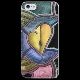 """Чехол для iPhone 5 глянцевый, с полной запечаткой """"Абстракция сердце"""" - сердце, любовь, абстракция, краски, дизайн"""