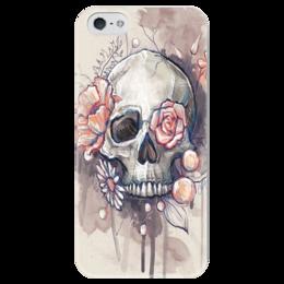 """Чехол для iPhone 5 глянцевый, с полной запечаткой """"Цветочный"""" - череп, кости, череп с цветами, рисунок черпа"""