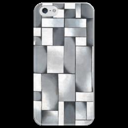 """Чехол для iPhone 5 глянцевый, с полной запечаткой """"Композиция в сером"""" - картина, дусбург"""