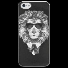 """Чехол для iPhone 5 глянцевый, с полной запечаткой """"Черно-белый Лев """" - арт, стиль, рисунок, красота, стильно"""