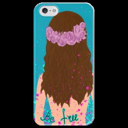 """Чехол для iPhone 5 глянцевый, с полной запечаткой """"Be free"""" - девушка, цветы, ярко, венок, befree"""