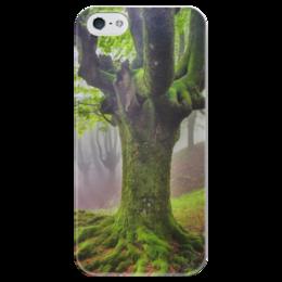 """Чехол для iPhone 5 глянцевый, с полной запечаткой """"Дух Севера"""" - лес, деревья, природа, дух севера, путь воина"""