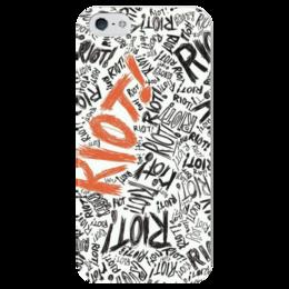 """Чехол для iPhone 5 глянцевый, с полной запечаткой """"Paramore-Riot"""" - rock, riot, paramore, альтернативный рок, pop punk, поп-панк"""