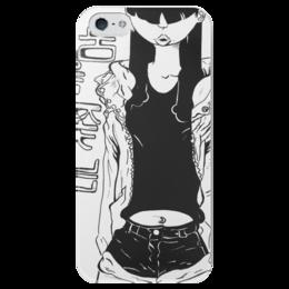 """Чехол для iPhone 5 глянцевый, с полной запечаткой """"В погоне за мечтой"""" - арт, black n white, chasing a dream, мечта"""