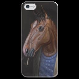 """Чехол для iPhone 5 глянцевый, с полной запечаткой """"Конь БоДжек"""" - лошадь, мультсериал, bojack horseman, bojack, боджек"""