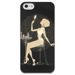 """Чехол для iPhone 5 глянцевый, с полной запечаткой """"Красивая девушка с зеркалом  силуэт ESZAdesign"""" - арт, стильный, фешн, элегантный, силуэт"""