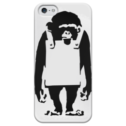 "Чехол для iPhone 5 глянцевый, с полной запечаткой ""Шимпанзе с рекламным щитом"" - monkey, banksy, бэнкси, шимпанзе"