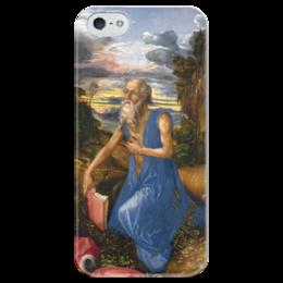 """Чехол для iPhone 5 глянцевый, с полной запечаткой """"Святой Иероним в пустыне"""" - картина, дюрер"""
