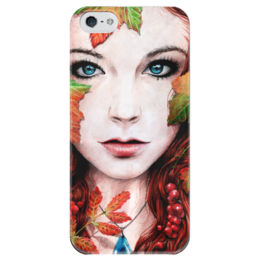 """Чехол для iPhone 5 глянцевый, с полной запечаткой """"Autumn"""" - арт, девушка, осень, природа, beauty, fall"""