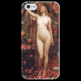 """Чехол для iPhone 5 глянцевый, с полной запечаткой """"Женщина, Мужчина и Змей (Джон Шоу)"""" - картина, шоу, рай, грех"""