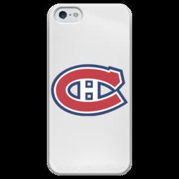 "Чехол для iPhone 5 глянцевый, с полной запечаткой ""Montreal Canadiens"" - хоккей, hockey, спортивная, nhl, нхл, canada, montreal"
