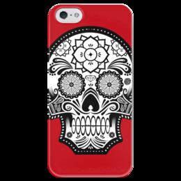 "Чехол для iPhone 5 глянцевый, с полной запечаткой ""Santa Muerte skull"" - skull, череп, мексика, mexico, санта муерта"