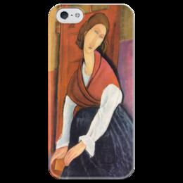 """Чехол для iPhone 5 глянцевый, с полной запечаткой """"Жанна Эбютерн (Амедео Модильяни)"""" - картина, модильяни"""