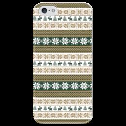 """Чехол для iPhone 5 глянцевый, с полной запечаткой """"Скандинавский узор"""" - узор, зима, орнамент, олень, снежинка"""