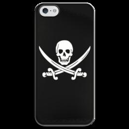 """Чехол для iPhone 5 глянцевый, с полной запечаткой """"Веселый Роджер."""" - череп, jolly roger, пират, веселый роджер, pirates, пираты карибского моря, пиратский флаг"""