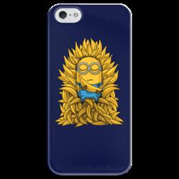 """Чехол для iPhone 5 глянцевый, с полной запечаткой """"Миньоны. Банана Трон"""" - banana, миньоны, игра престолов, game of thrones, minions"""