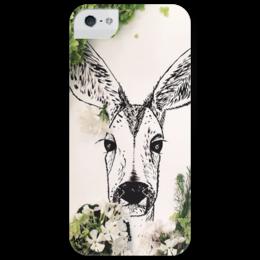 """Чехол для iPhone 5 глянцевый, с полной запечаткой """"Олень в цветах"""" - цветы, олень, deer"""