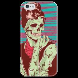 """Чехол для iPhone 5 глянцевый, с полной запечаткой """"Одри Хепберн (зомби)"""" - skull, череп, зомби, одри хепберн, икона стиля"""