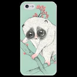 "Чехол для iPhone 5 глянцевый, с полной запечаткой ""Fat Lory лемур"" - арт, мятный, lemur, лемур, мята"