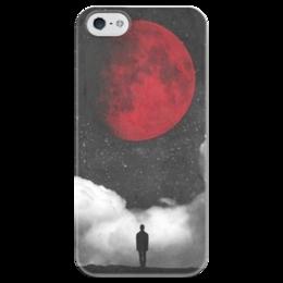 """Чехол для iPhone 5 глянцевый, с полной запечаткой """"""""Кровавая луна"""""""" - арт, луна, ночь, moon"""