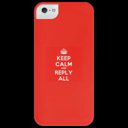 """Чехол для iPhone 5 глянцевый, с полной запечаткой """"Keep calm and reply all.red"""" - white, iphone, айфон, red, красный, text, keepcalm, iphone5, cover, repllyall"""