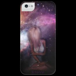 "Чехол для iPhone 5 глянцевый, с полной запечаткой ""Dreams"" - арт, девушка, space, космос, dreams, мечты"