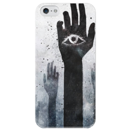 """Чехол для iPhone 5 глянцевый, с полной запечаткой """"Взгляд изнутри"""" - глаз, руки"""