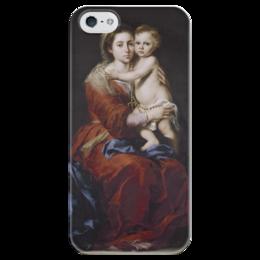 "Чехол для iPhone 5 глянцевый, с полной запечаткой ""Мадонна с чётками"" - картина, мурильо"