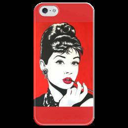 """Чехол для iPhone 5 глянцевый, с полной запечаткой """"Одри Хэпберн"""" - ретро, кино, завтрак у тиффани, одри хэпберн"""